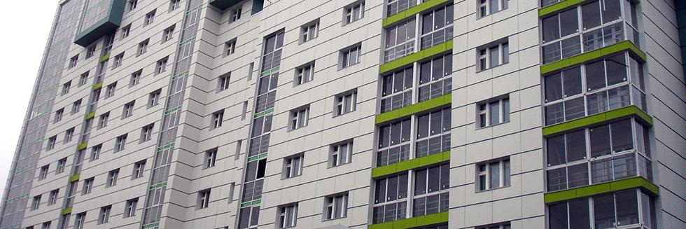 Вентилируемый фасад с облицовкой из фиброцементных плит