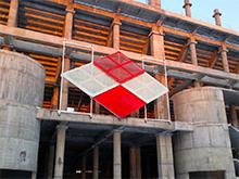 «Открытие Арена» (стадион «Спартак»): Установка щита на фасаде здания